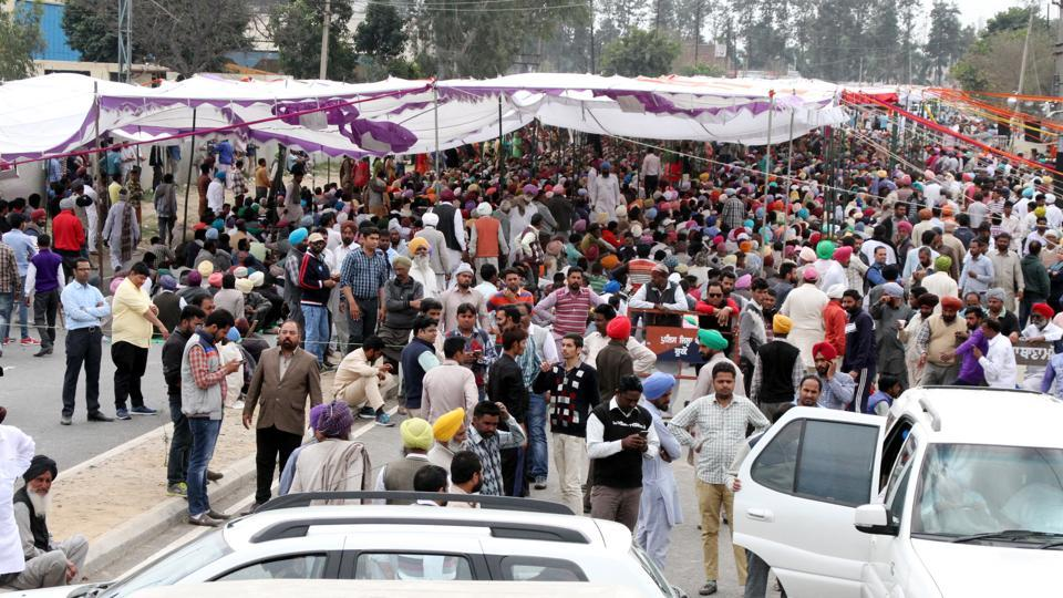 Followers of Dera Sacha Sauda protesting at Malerkotla road at Jagera village in Ludhiana on Tuesday.