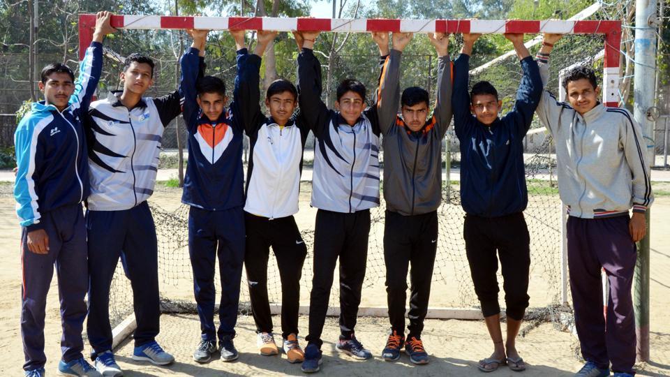 Handball players from Hisar, Haryana, at Guru Nanak Stadium in Ludhiana on Sunday.
