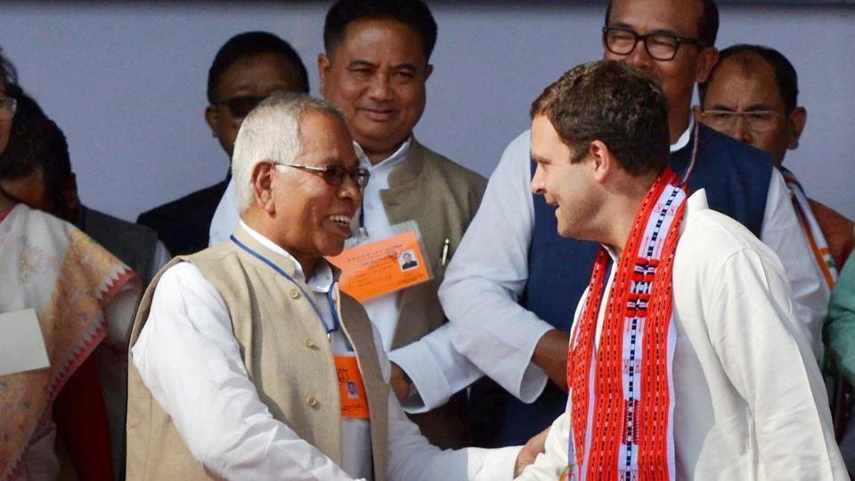 Congress vice-president Rahul Gandhi at an election campaign rally ahead of the Manipur assembly polls in Imphal on Tuesday.