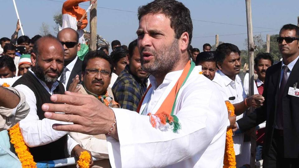 Congress vice-president Rahul Gandhi addressed a rally in Imphal on Monday.