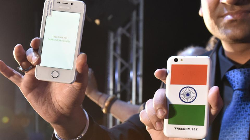 File photo from the launch event of Freedom 251 mobile phone.