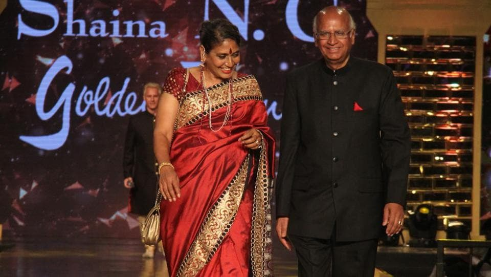S Ramadorai, chairman of Air Asia (India), Tata Advanced Systems Ltd and Tata Technologies Ltd, with his wife Mala at the fashion show. (Pramod Thakur/HT Photo)