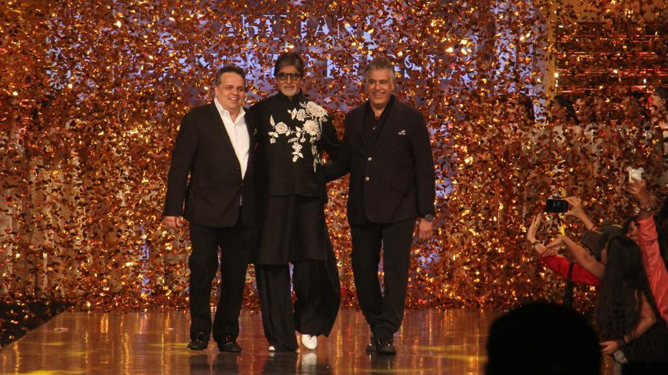 Megastar Amitabh Bachchan on the ramp during the fashion show, which was organised in aid of Cancer Patients Aid Association (CPAA). (Pramod Thakur/HT Photo)
