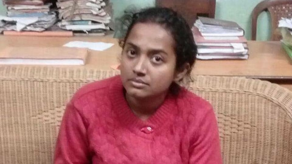 Juhi Chowdhury after her arrest on Tuesday night.