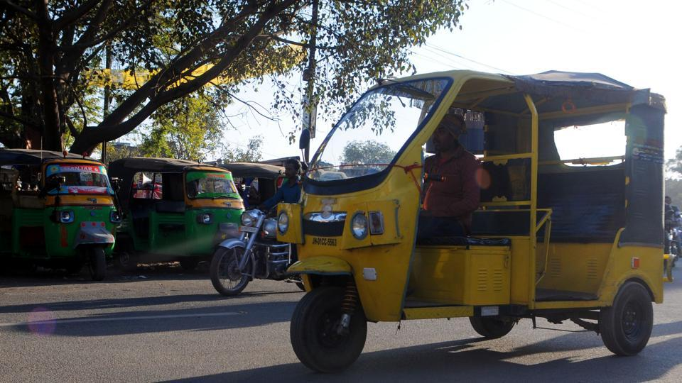 Auto rickshaw and e rickshaw ferrying in the city a day before their strike in Ranchi.