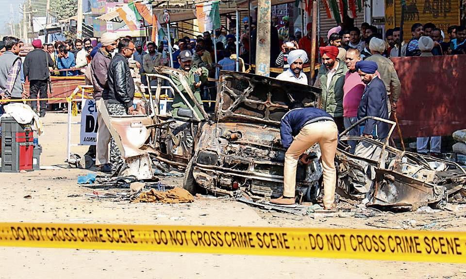 Six people were killed in twin blasts in Maur on January 31.