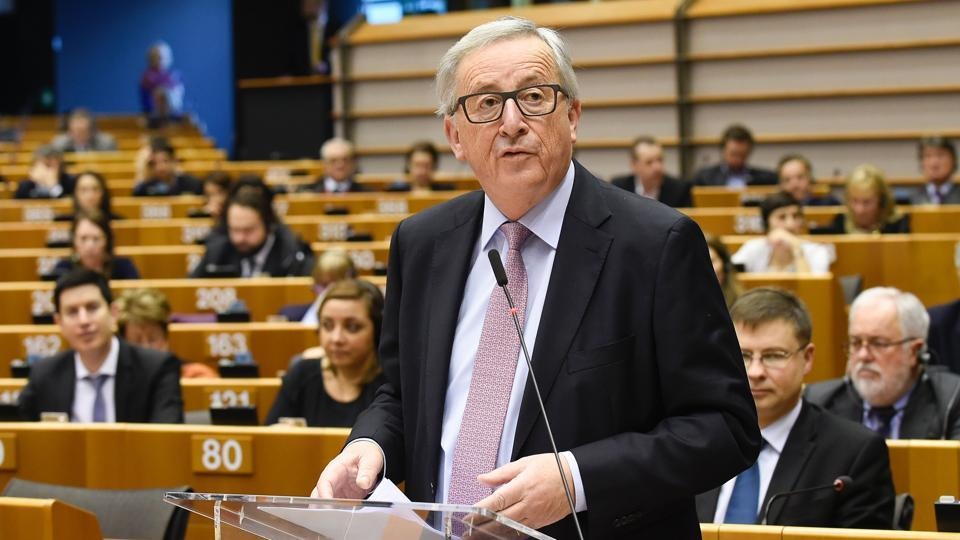 EU Commission president Jean-Claude Juncker speaks during the presentation 'White paper on the future of Europe' at the EU headquarters in Brussels.