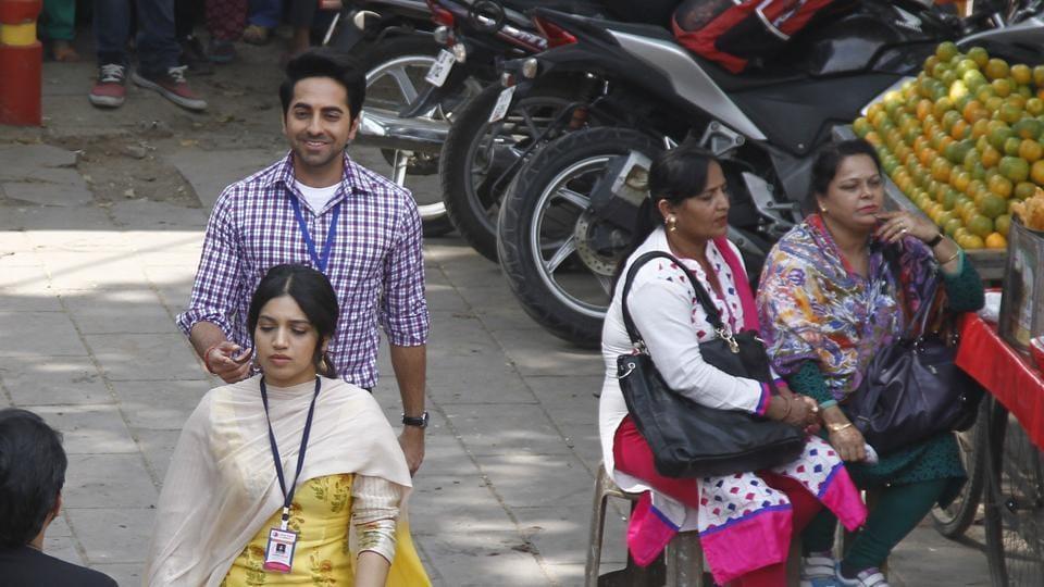 The shooting for Shubh Mangal Saavdhan, starring actors Ayushmann Khurrana and Bhumi Pednekar, kick-started on Wednesday  in Delhi. (WASEEM GASHROO/HT PHOTO)