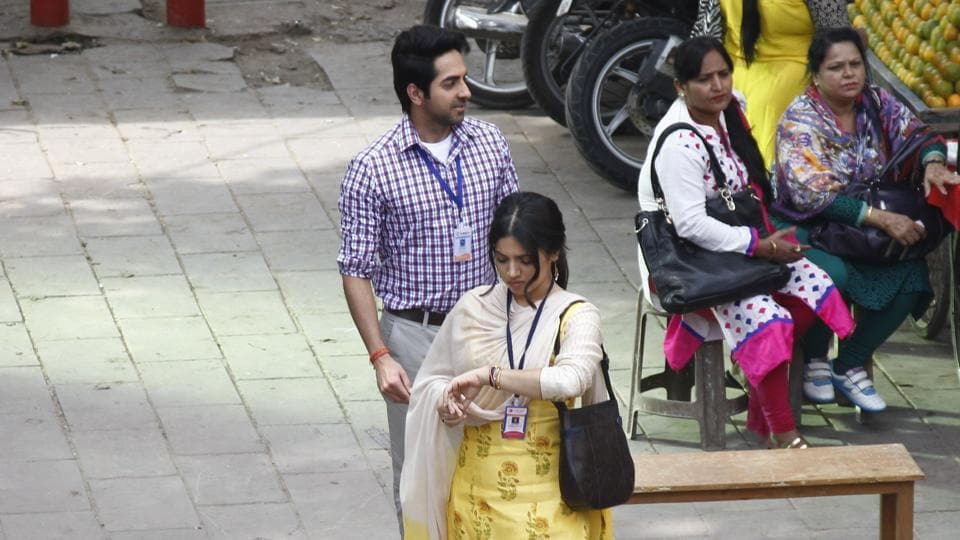 In another sequence, Bhumi was seen waiting for Ayushmann and she kept checking her watch. (Waseem Gashroo/HT Photo)
