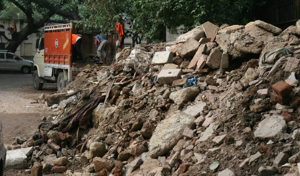 Delhi pollution,Delhi dust pollution,construction waste