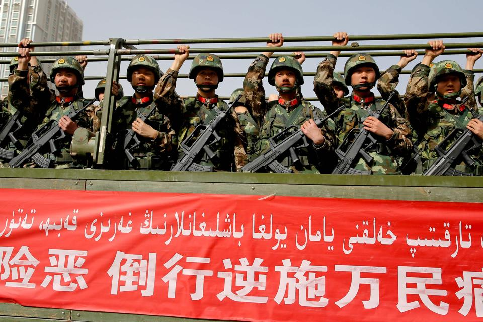 The People's Liberation Army and Airforce as well as the Xinjiang Armed Police Corp took part in the exercise.
