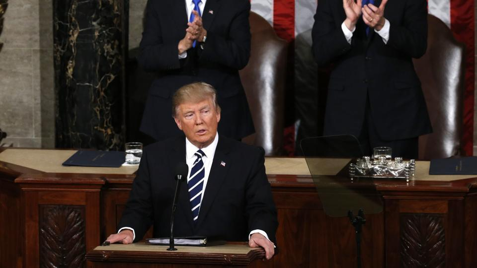 US President Donald Trump addresses the joint session of Congress in Washington on Tuesday.