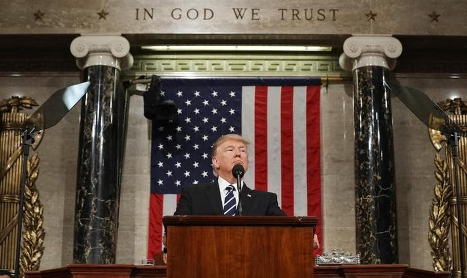U.S. President Donald Trump delivers his first address to a joint session of Congress from the floor of the House of Representatives in Washington