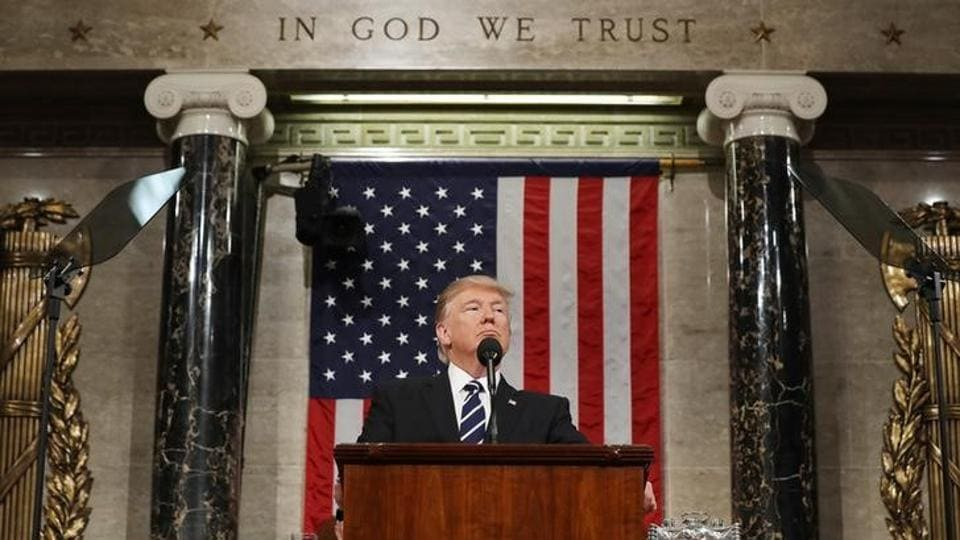 US President Donald Trump delivers his first address to a joint session of Congress from the floor of the House of Representatives iin Washington, U.S., February 28, 2017.
