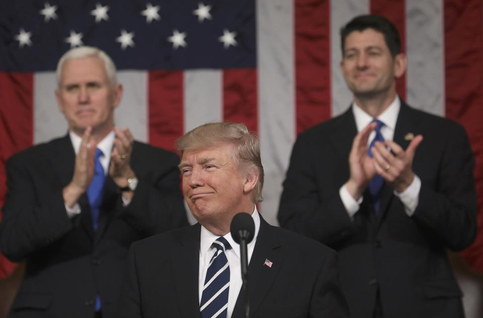 US President Donald  Trump  delivers his first address to a joint session of Congress .