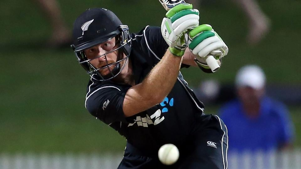 Martin Guptill bats during the one-day international (ODI) cricket match between New Zealand and South Africa.