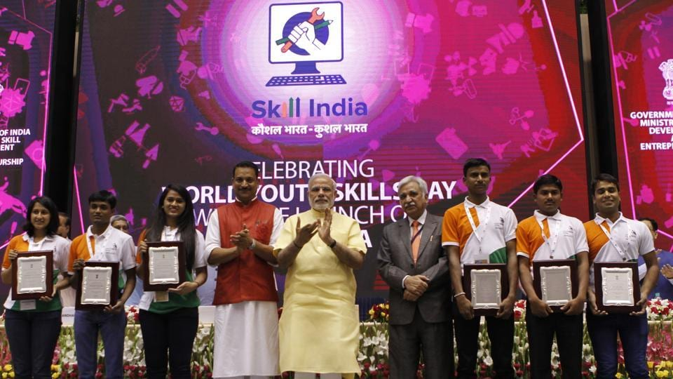 PMModi with Rajiv Pratap Rudy, MoS for skill development and entrepreneurship, at the launch of the National Skill Development Mission in New Delhi.
