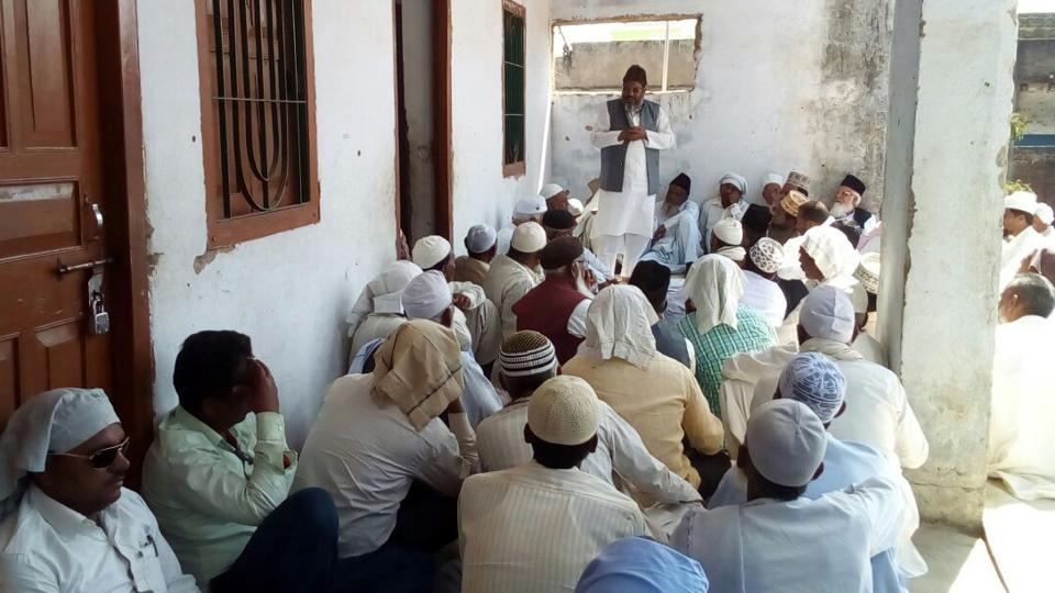 A meeting of Muslims in progress during anti-dowry campaign at Mahuadand in Latehar district, India, on Tuesday, February 28.