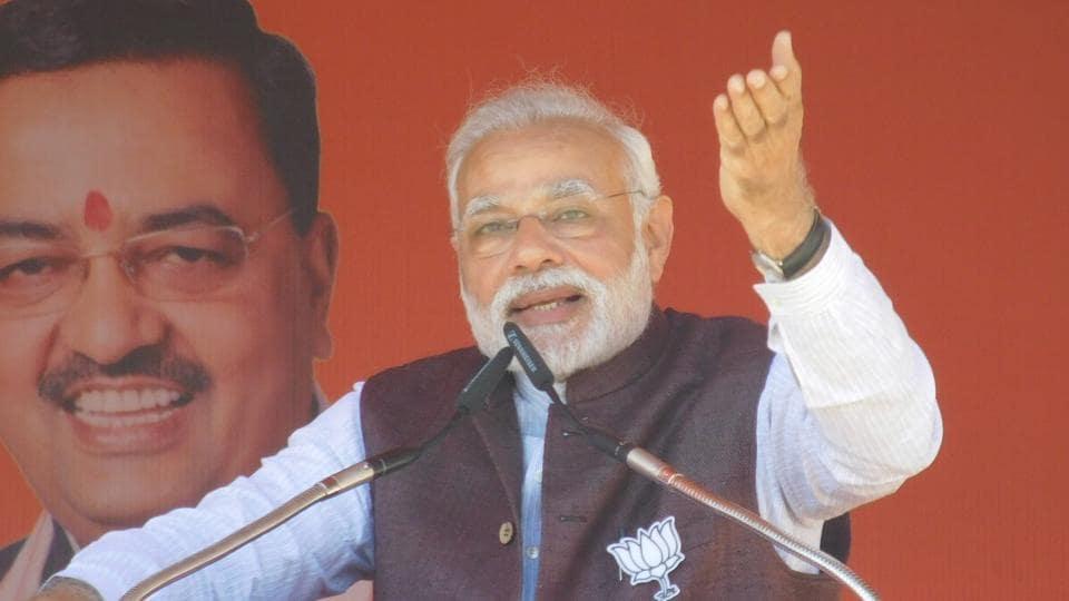 Prime Minister Narendra Modi addresses an election rally in Gonda district of Uttar Pradesh.