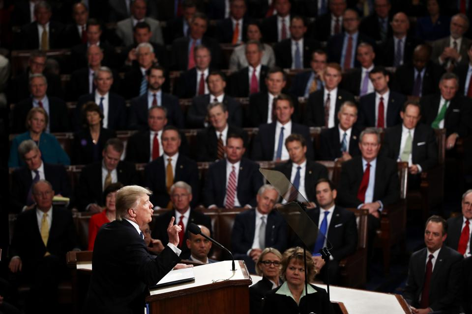 WASHINGTON, DC - FEBRUARY 28: U.S. President Donald Trump addresses a joint session of the U.S. Congress on February 28, 2017 in the House chamber of the U.S. Capitol in Washington, DC.