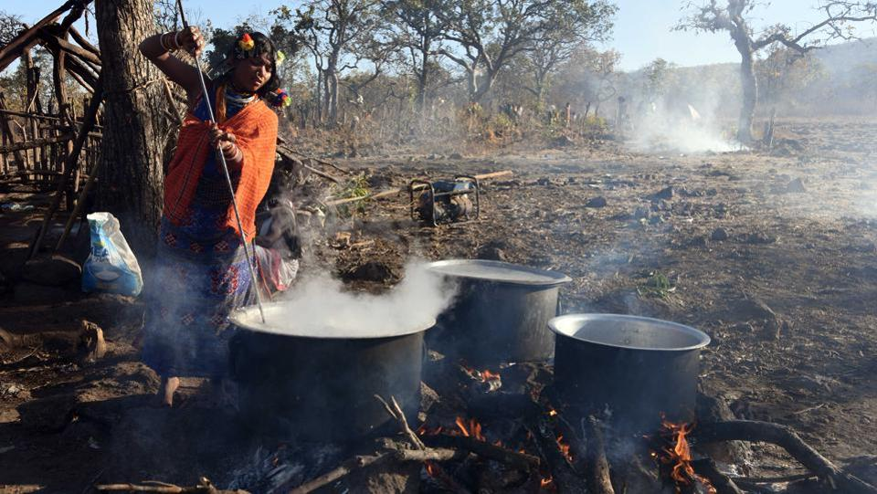 A Dongria women prepares food in open during the two-day long Niyamraja Festival.  (Arabinda Mohapatra)