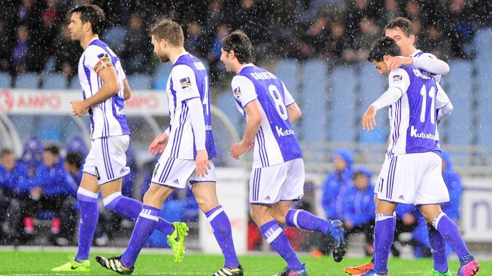 Real Sociedad players during their La Liga match against Eibar on Tuesday.