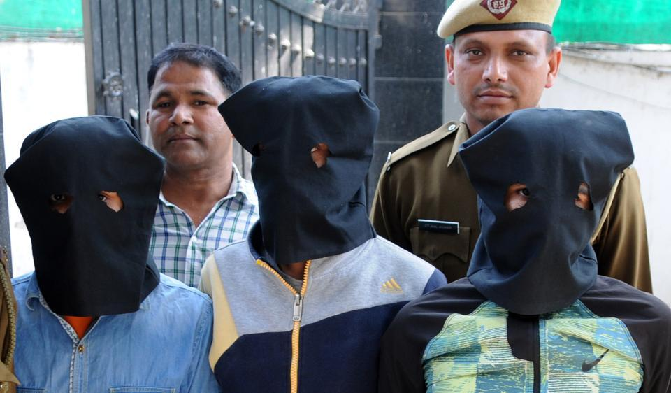 The accused in police custody on Wednesday.