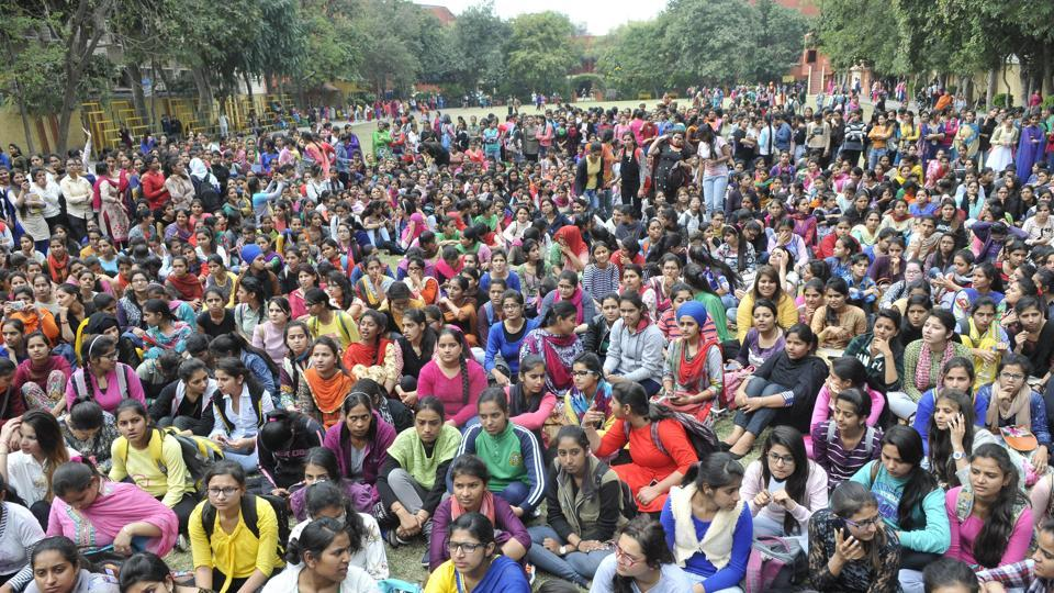 Students protesting at Guru Nanak Girls College in Ludhiana on Tuesday.