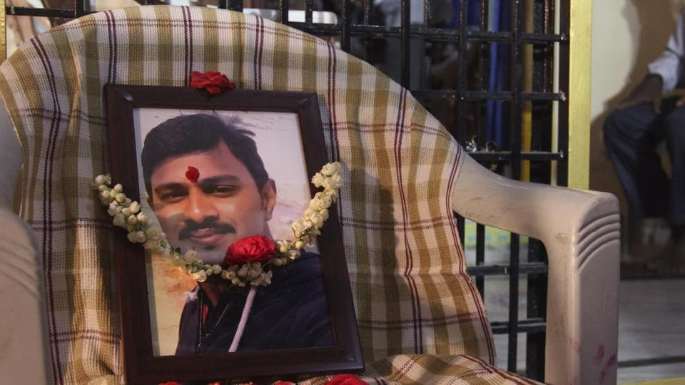 A photograph of  Srinivas Kuchibhotla at his residence on the outskirts of Hyderabad, Tuesday, Feb. 28, 2017.  He was killed when a US navy veteran opened fire in a Kansas bar last week in an apparent case of hate crime.