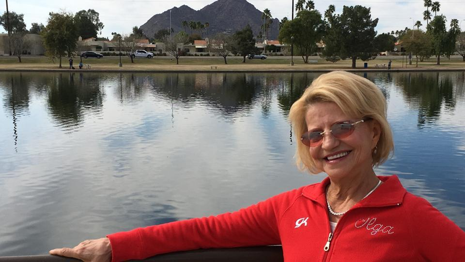 In this Feb. 14, 2017 photo, Olympic gold medal-winning gymnast Olga Korbut, of Russia, poses iin Scottsdale, Arizona.