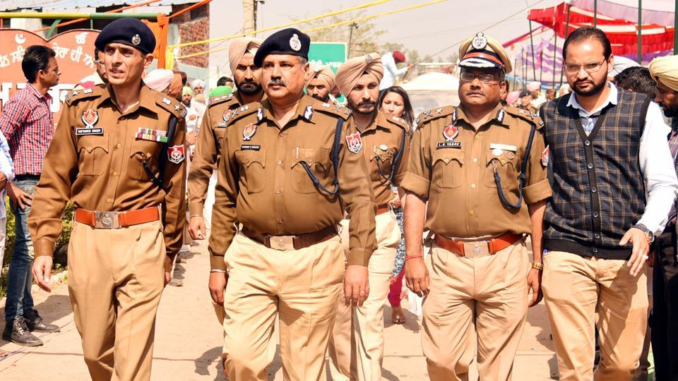 DGP, law and order, Hardeep Singh Dhillon with other officials at congregation centre in Jagera village on Wednesday.