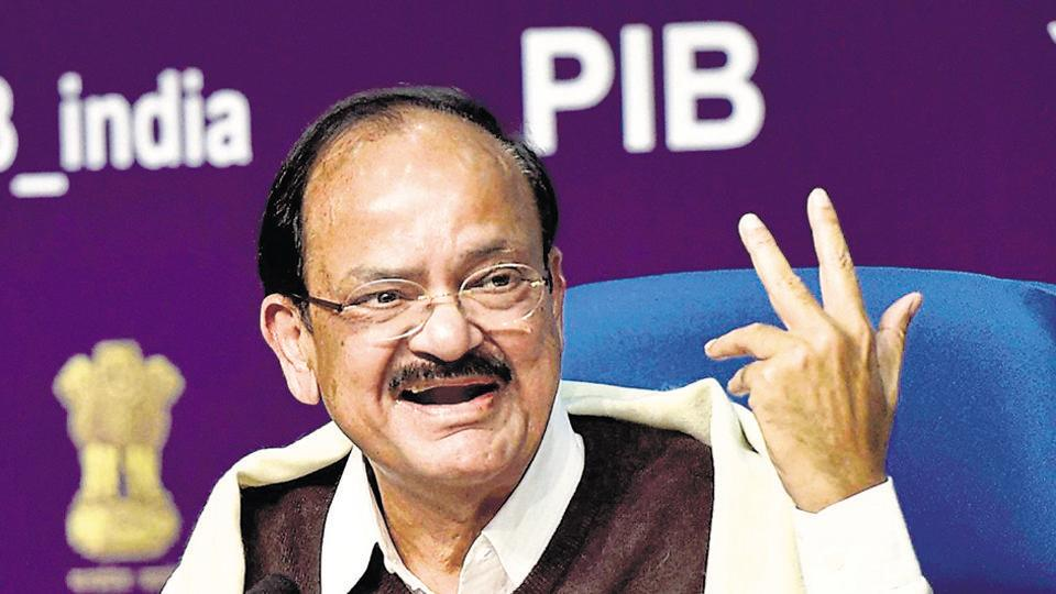New Delhi: Union Minister for Urban Development, Housing & Urban Poverty Alleviation and Information & Broadcasting M. Venkaiah Naidu addresses a press conference on last 2.5 years achievements of the Government, in New Delhi on Thursday. PTI Photo by Kamal Singh(PTI12_29_2016_000100B)