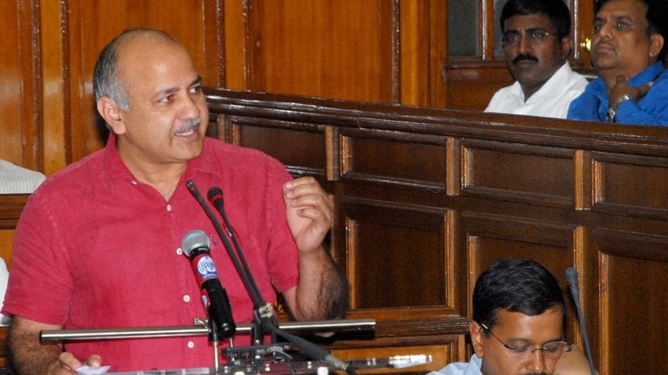 Deputy Chief Minister Manish Sisodia speaks during the Delhi Budget at the Delhi Vidhan Sabha in 2016. (Photo by DIP)