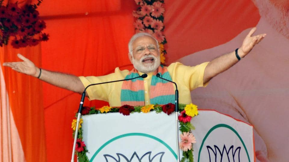 Prime Minister Narendra Modi addresses an election campaign rally in Maharajganj on Wednesday.