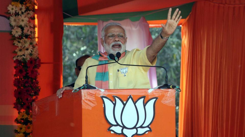 Narendra Modi addresses a rally at Deoria, Uttar Pradesh on Wednesday.