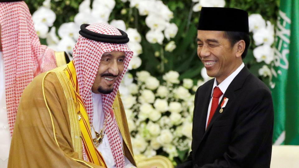 Saudi King Salman, left, shakes hands with Indonesian President Joko Widodo during their meeting at the presidential palace in Bogor, West Java, Indonesia, on Wednesday.
