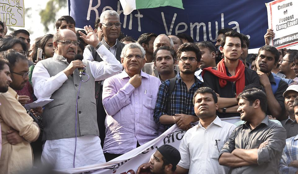 JDU leader KC Tyagi  addresses Delhi University students during a protest on Tuesday.