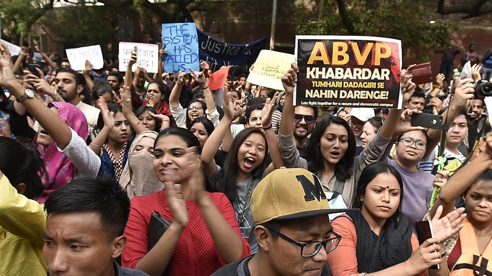 Protests by various students' organisations against the ABVP at Khalsa College, Delhi University, Feb.28, 2017.
