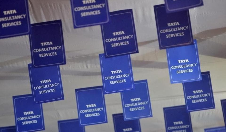 Tata Consultancy Services (TCS) logo at the AGM venue.
