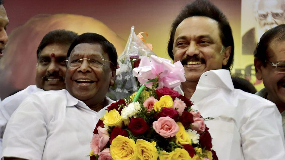 DMK working president MK Stalin is greeted by Puducherry chief minister V Narayanasamy on his 65th birthday at Anna Arivalayam in Chennai.