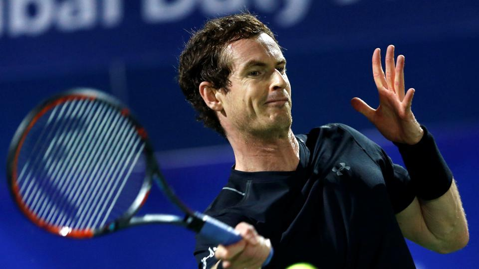 Andy Murray in action against Malek Jaziri at the Dubai tennis Championships.