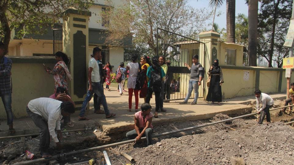 The repair work being carried out in front of the Kandivli school.