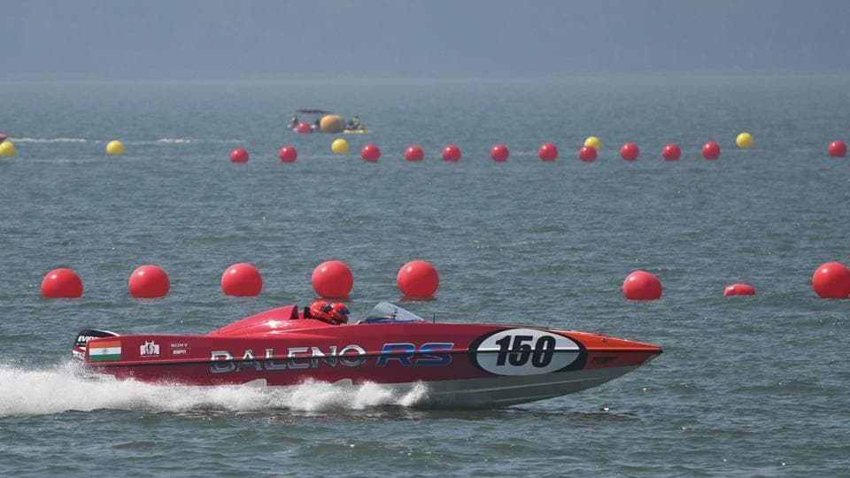 One of the boats to take part in the grand Prix test the waters at Marine Drive on Wednesday.
