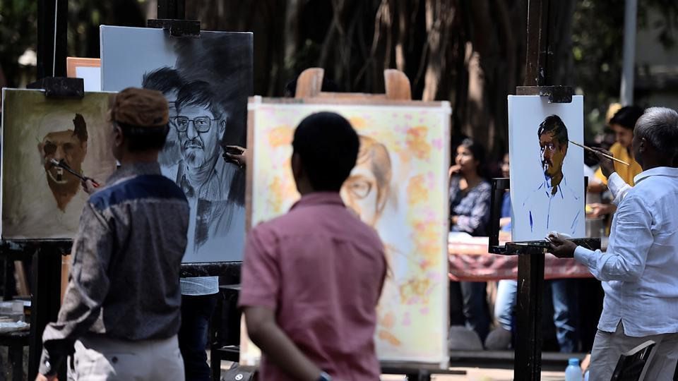 VIEW POINTS: Different sketches in different stages. (Arijit Sen/HT Photo)