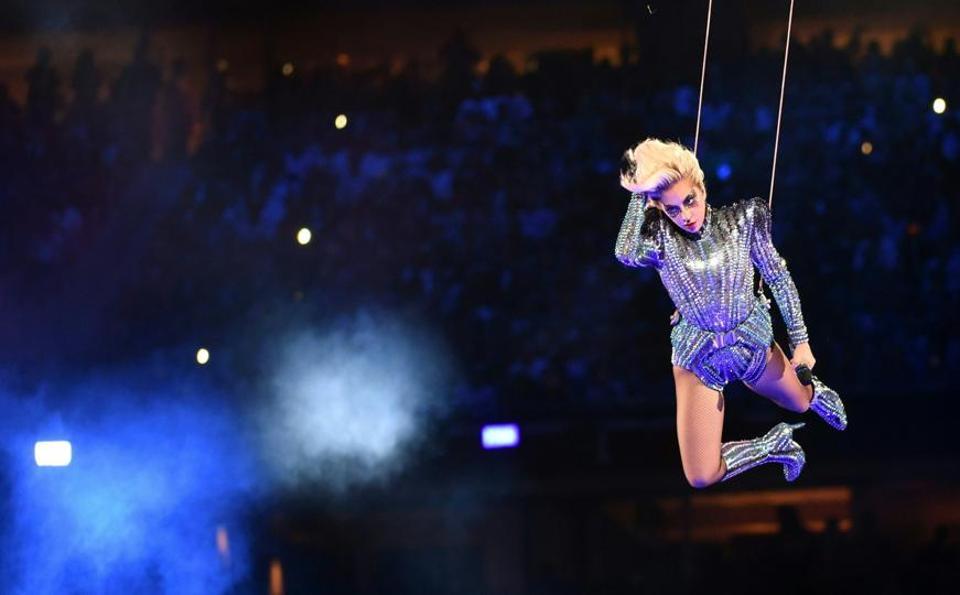 Lady Gaga at the Super Bowl, 2017.