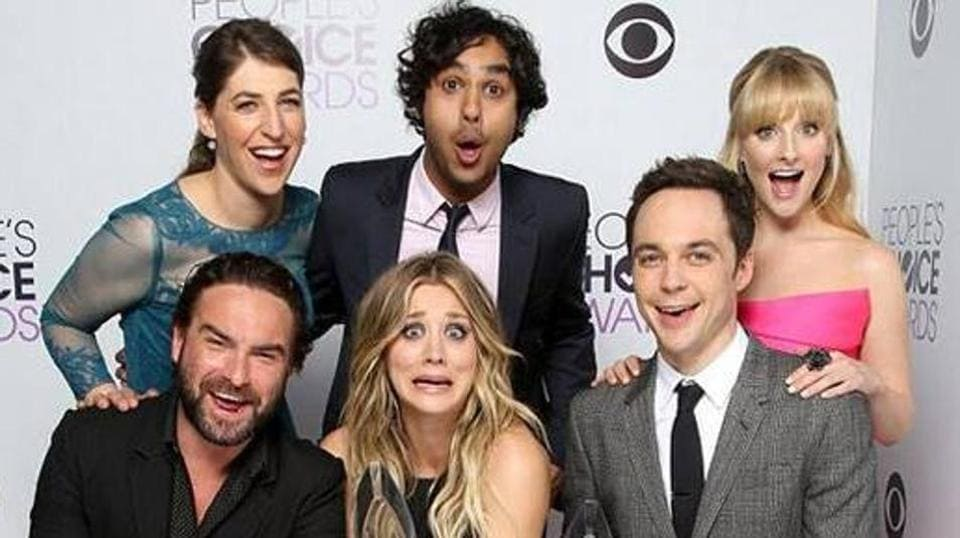 The cast of the popular CBS sitcom The Big Bang Theory.