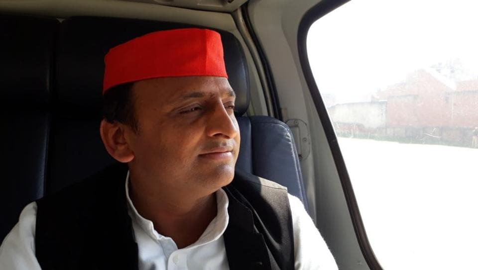 UPchief minister Akhilesh Yadav aboard his helicopter while campaigning. The state will go through the sixth phase of its seven-phase polls on March 4.