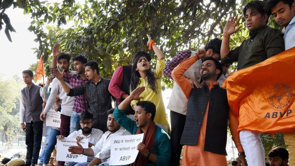 Akhil Bharatiya Vidyarthi Parishad (ABVP) activists during a protest against Delhi Police at Police headquarters in New Delhi on Wednesday, March 1, 2017. The students' organisation is holding a march on Delhi University's North Campus on March 2.