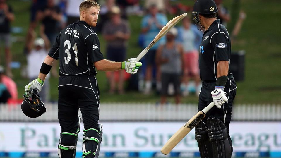 Martin Guptill of New Zealand (left) celebrates his century watched on by teammate Ross Taylor during the New Zealand vs South Africa ODI at Seddon Park in Hamilton on Wednesday.