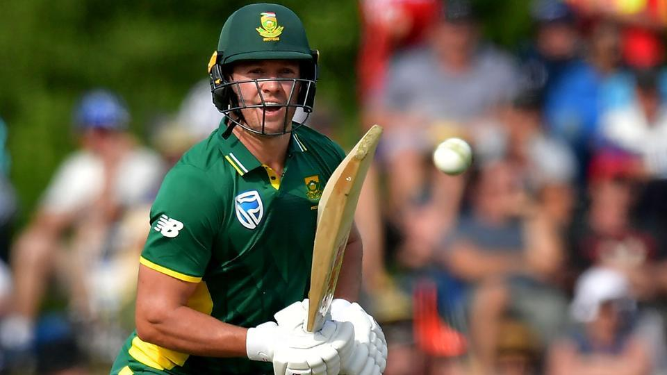 South Africa's captain AB de Villiers bats during the second one-day international (ODI) cricket match against New Zealand.